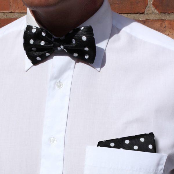 Black/white polka dot Silk Bow Tie-0