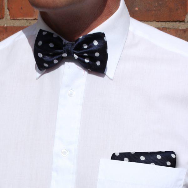 Navy/white polka dot Silk Bow Tie-0