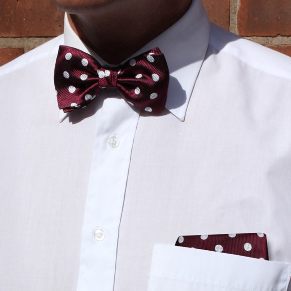 Burgundy/white polka dot Silk Bow Tie-0