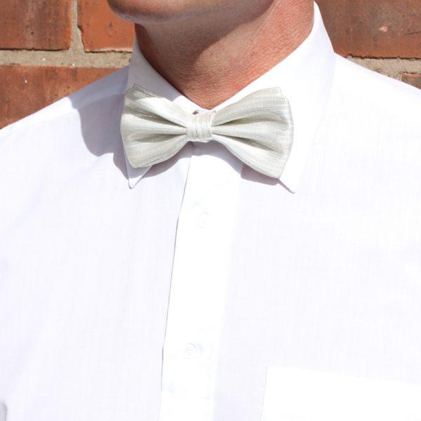 White Lurex Silk Bow Tie-0