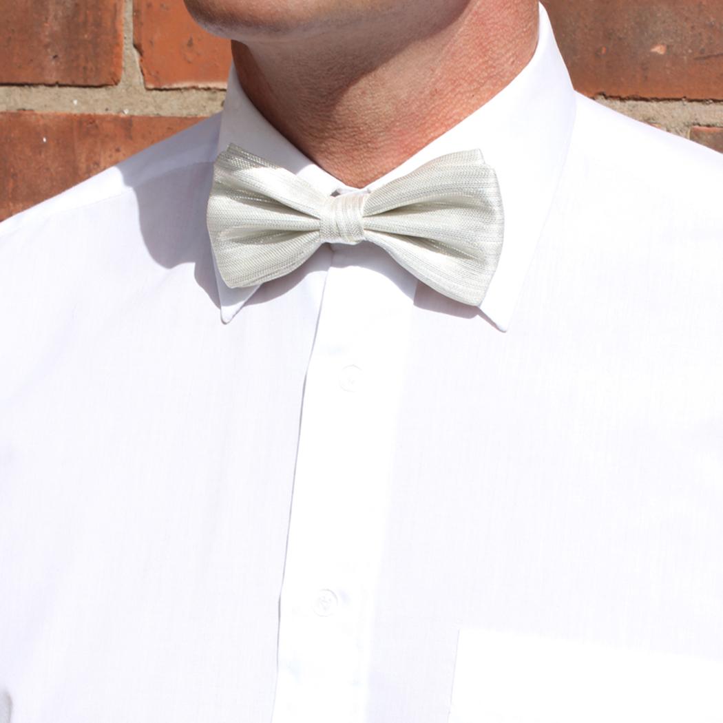 White Lurex Silk Bow Tie