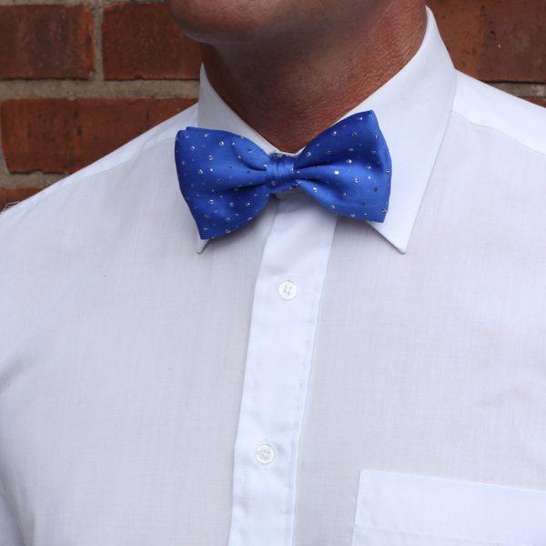 Blue sparkly Silk Bow Tie-0