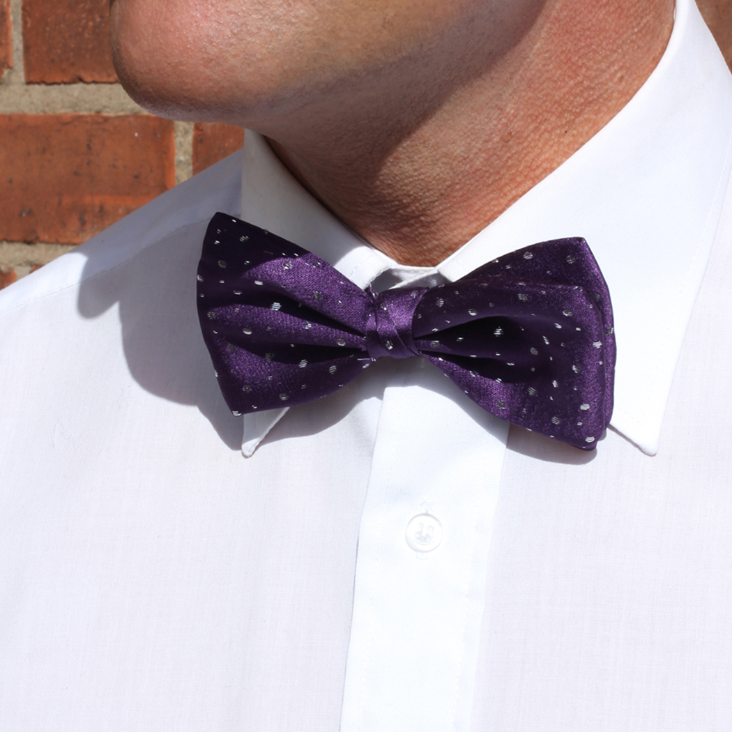 Purple sparkly Silk Bow Tie