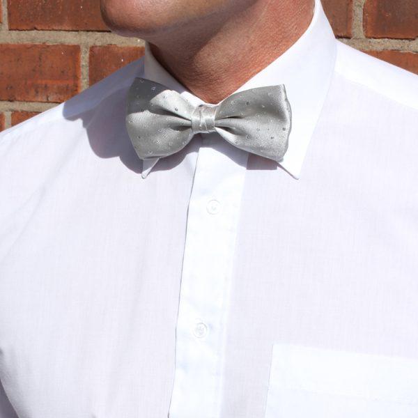 Silver Lurex Sparkly Silk Bow Tie-0