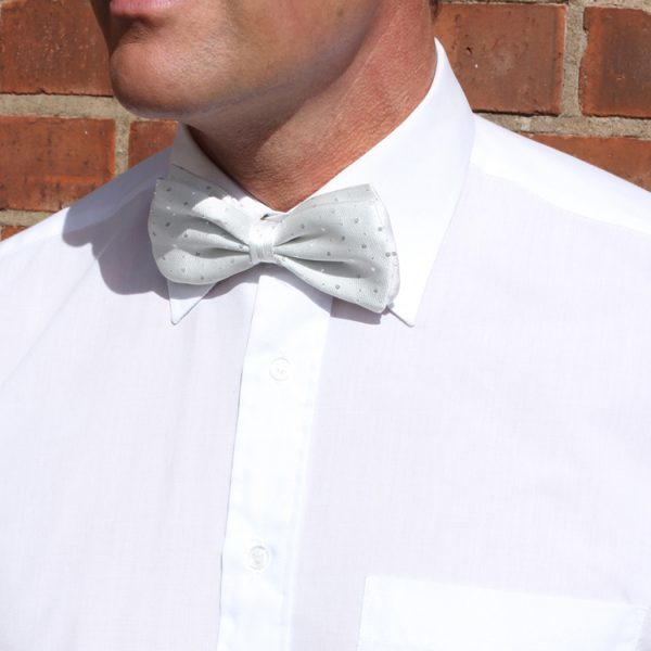 White Lurex sparkly Silk Bow Tie-0