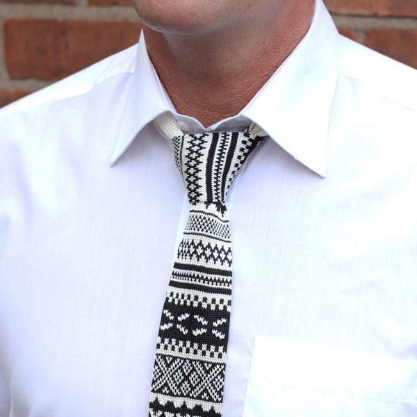 Black/white fair isle Silk Knitted Tie-0