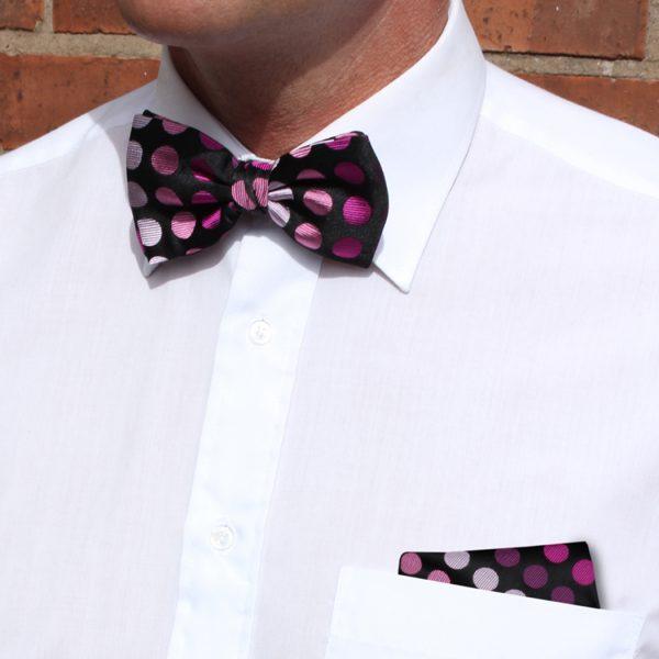 Black/pink Discs Silk Bow Tie-0
