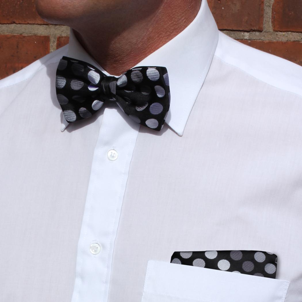 Silver/grey Discs Silk Bow Tie