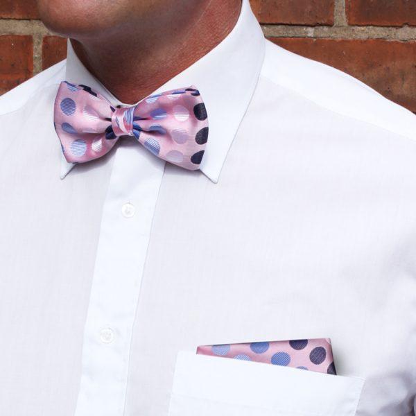 Pink/Black/Blue Discs Silk Bow Tie-0