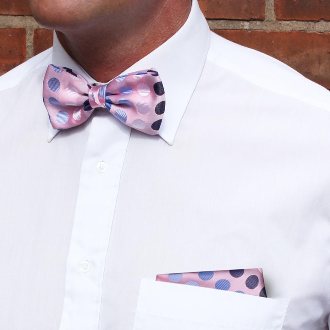 Pink/Black/Blue Discs Silk Bow Tie