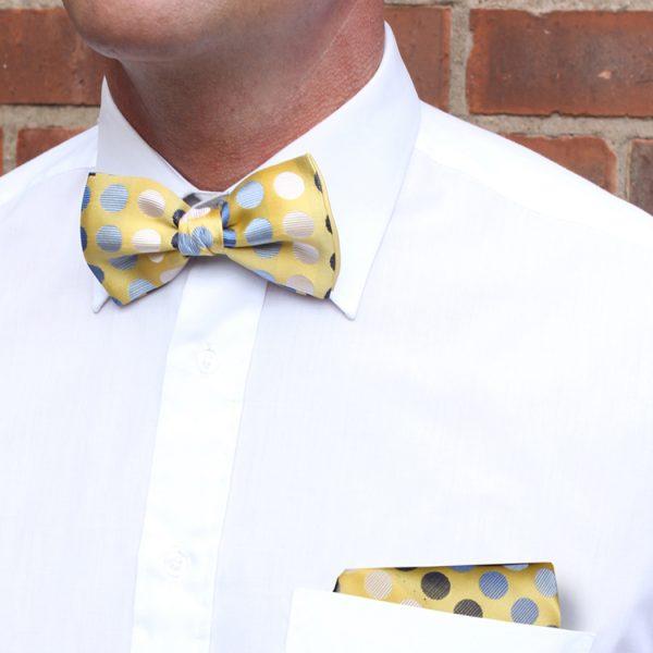 Yellow/blue/white/black Discs Silk Bow Tie-0