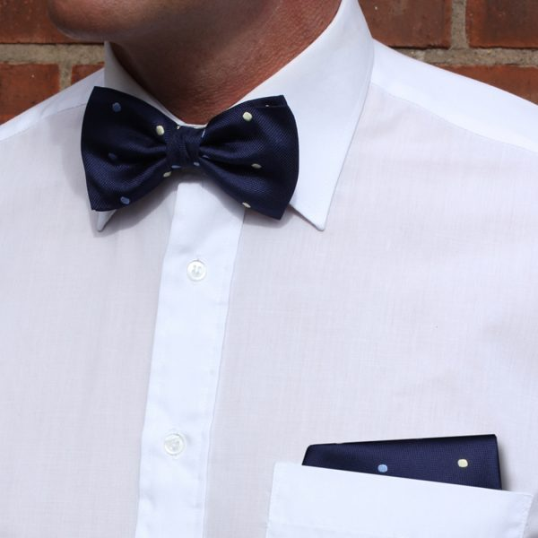 Navy/blue/cream Dotted Pocket Squares-0
