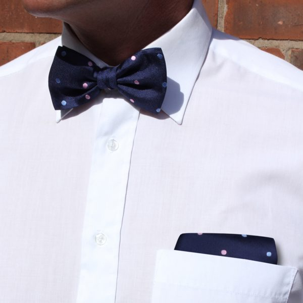 Navy/pink/blue dots Silk Bow Tie-0