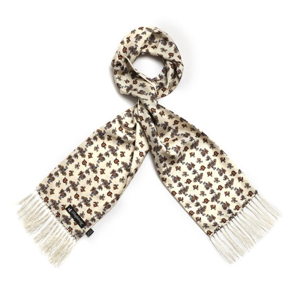 Cream Paisley Silk Aviator Scarf-0