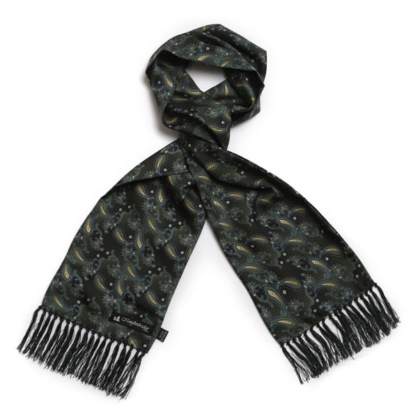 Dark Green Paisley Silk Aviator Scarf-0