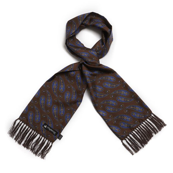 Knightsbridge Retro Brown and royal blue Paisley Silk Aviator Scarf-0