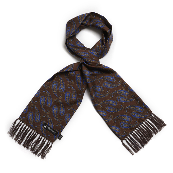 Knightsbridge Retro Brown and royal blue Paisley Silk Aviator Scarf