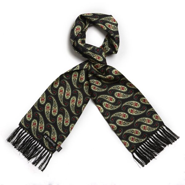 Dark green/mint Paisley Silk Aviator Scarf-0