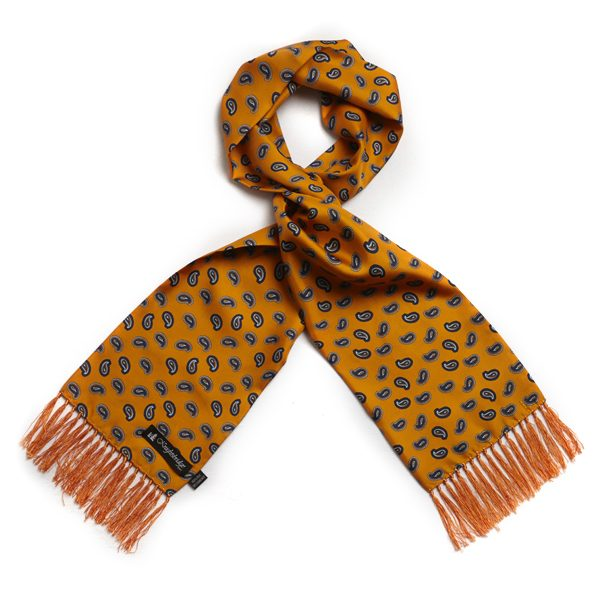 Gold/dark blue Paisley Silk Aviator Scarf-0