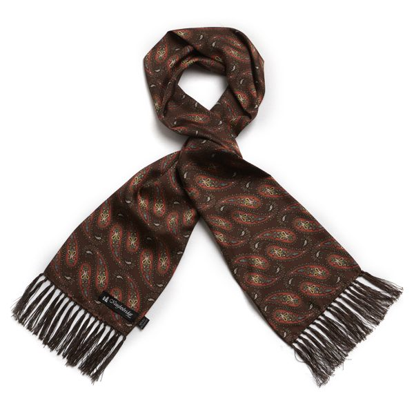 Brown/light orange/coral Paisley Silk Aviator Scarf-0