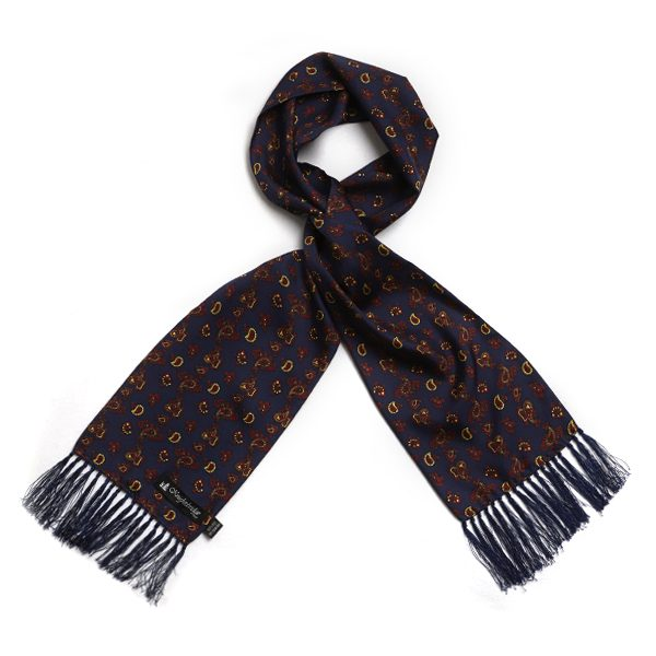 Navy/burgundy/brown Paisley Silk Aviator Scarf-0