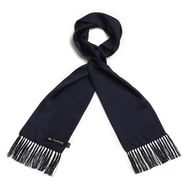 Navy Plain Silk Aviator Scarf-0