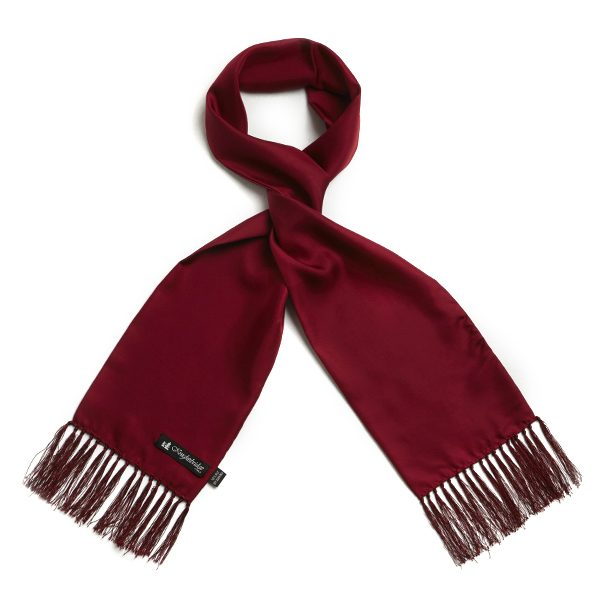 Burgundy Plain Silk Aviator Scarf-0