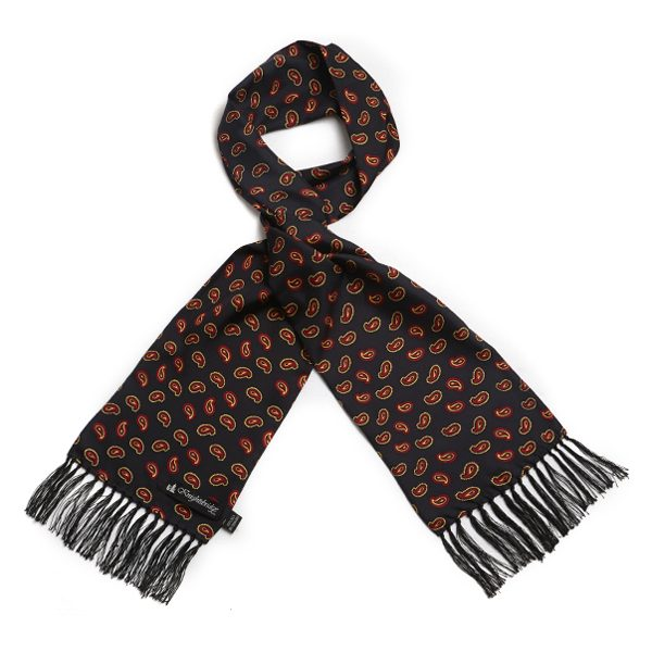 Black/red Paisley Silk Aviator Scarf-0