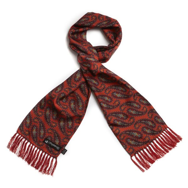 Orange/Coral Paisley Silk Aviator Scarf-0