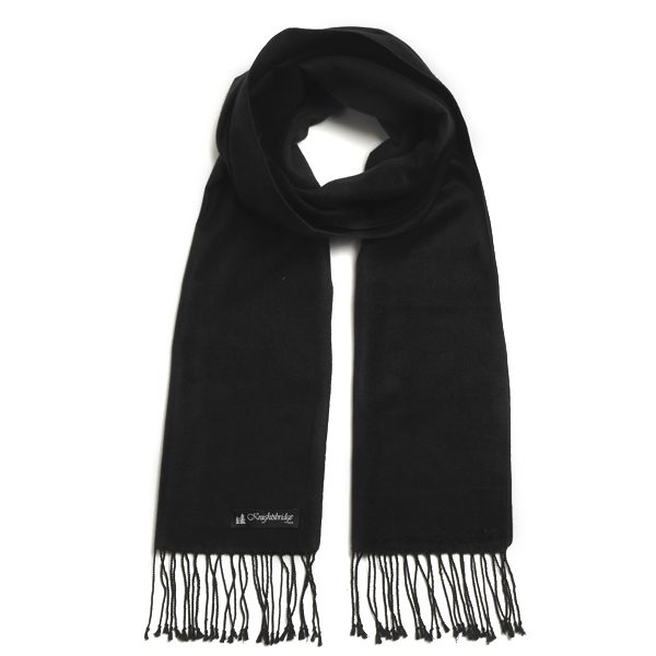 Black Knightsbridge Brushed Silk Scarf-0