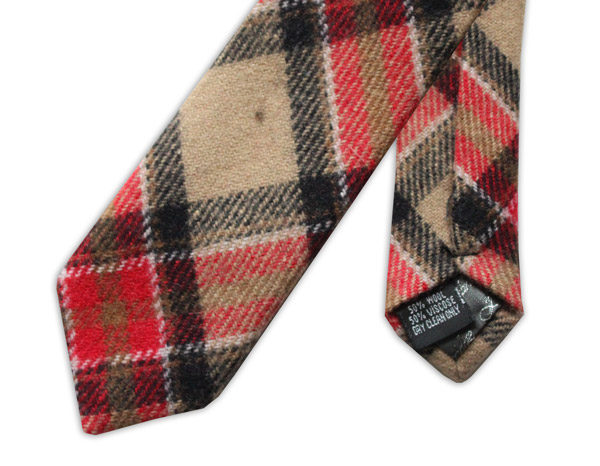 RED/BEIGE/BLACK TARTAN SKINNY TWEED TIE-0