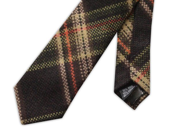 BROWN/BEIGE/ORANGE TARTAN SKINNY WOOL TIE-0