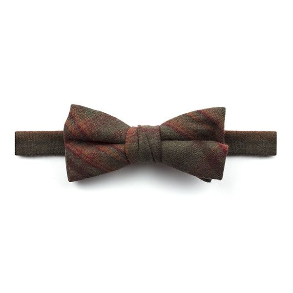 khaki Green/Orange Madras Check Tweed Bow Tie-0