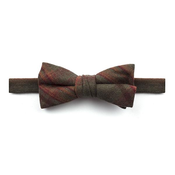 khaki Green/Orange Madras Check Tweed Bow Tie