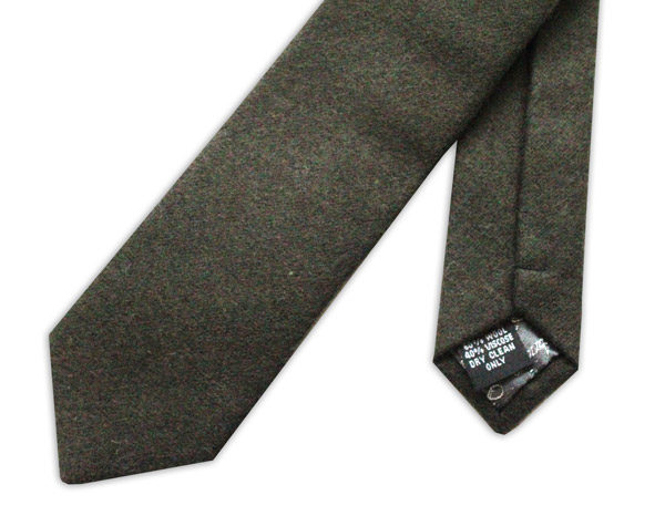 Plain skinny Moss Green Wool Tie-0