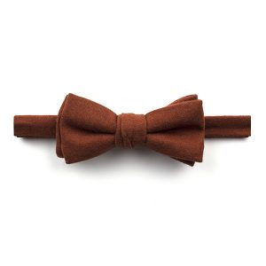 Plain Burnt Orange Wool Bow Tie-0