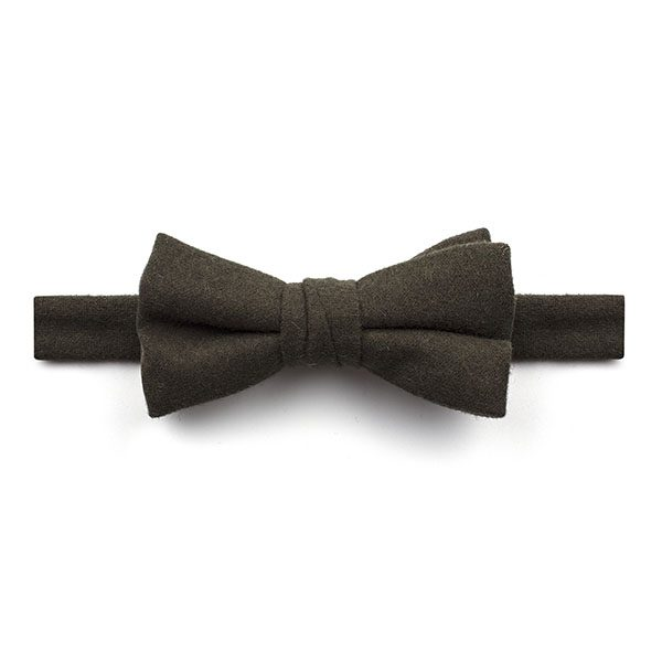 Plain Dark Green Wool Bow Tie-0