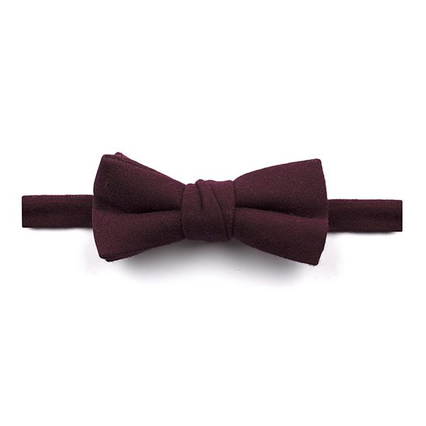 Plain Plum Wool Bow Tie-0