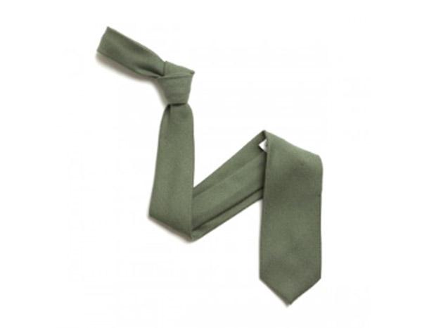 plain khaki Green Wool Tie-0