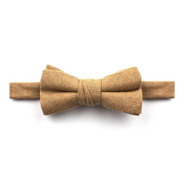 Plain beige Wool Bow Tie-0
