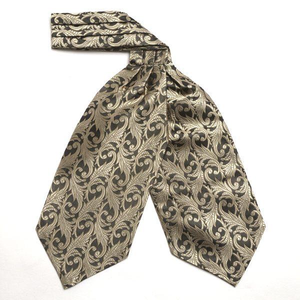 Gold floral silk cravat-0