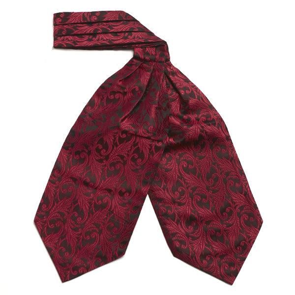 Red/black Leaf Silk Cravat-0
