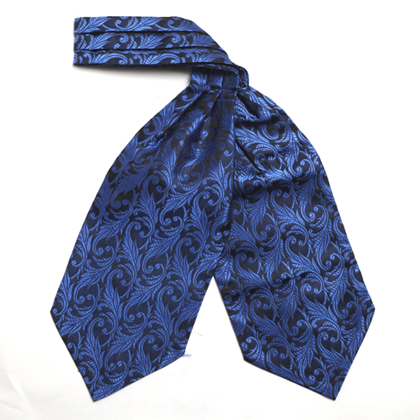 Royal Blue/black Leaf Silk Cravat-0