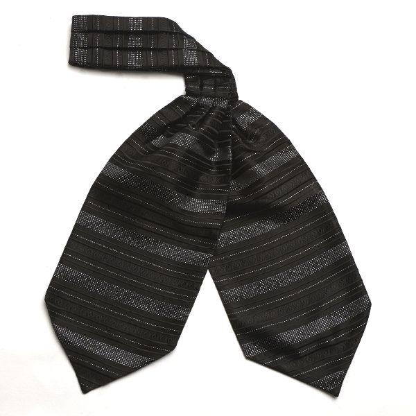 Black and Silver Gitter Silk Cravat-0