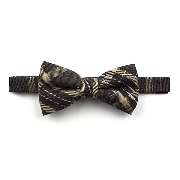dark Grey/Beige Madras Check Tweed Bow Tie-0