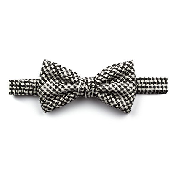 Black/white Gingham Tweed Bow Tie-0