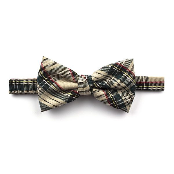 Beige/Green Tartan Tweed Bow Tie-0