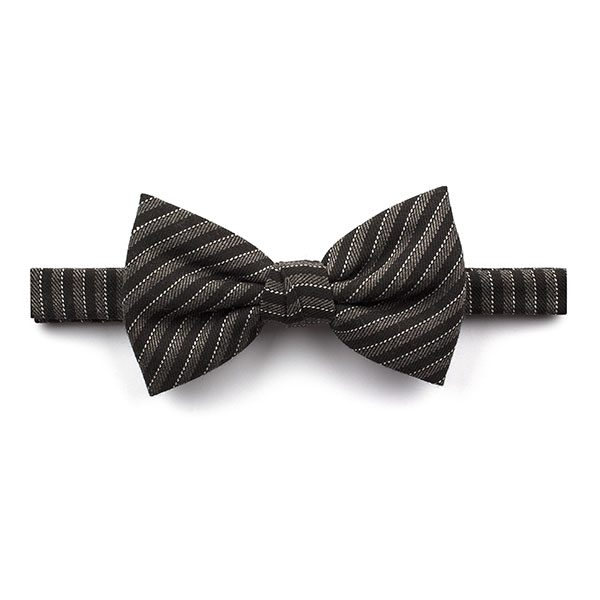 Black/Grey Striped Tweed Bow Tie-0