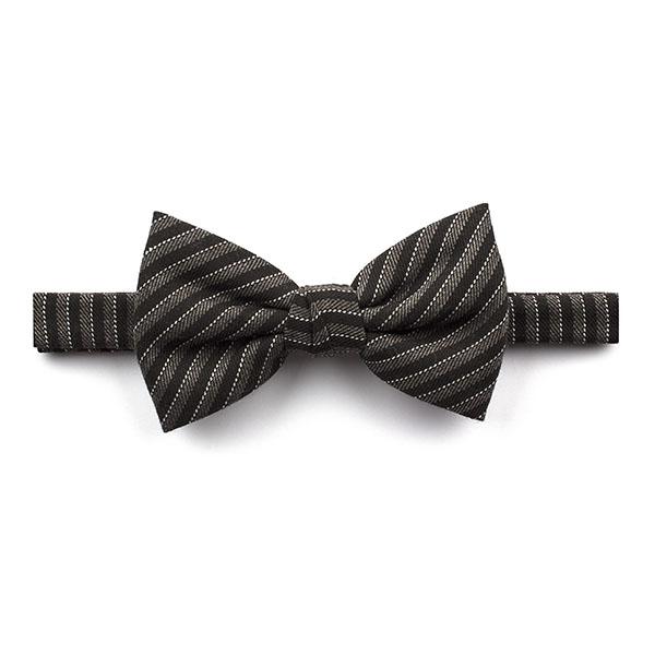 Black/Grey Striped Tweed Bow Tie