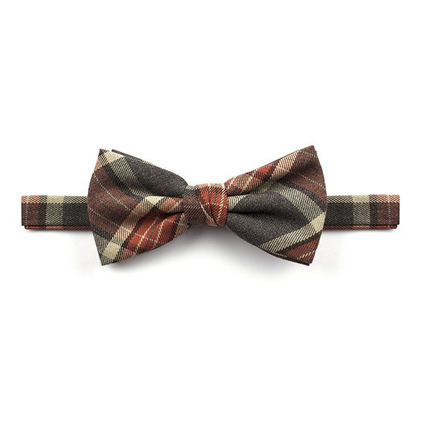 Brown/Grey/rust Madras Check Tweed Bow Tie-0